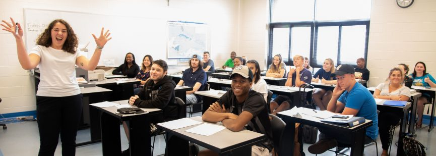 Coastal class with excited instructor