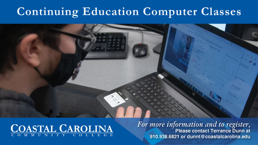 Continuing Education Computer classes. image with Hands on a keyboard.