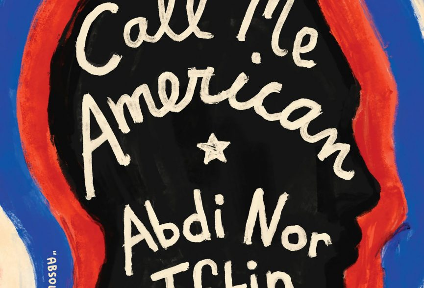 Cover of the book Call Me American, it displays handwritten text over a black head in profile with bands of colors emanating from the head.