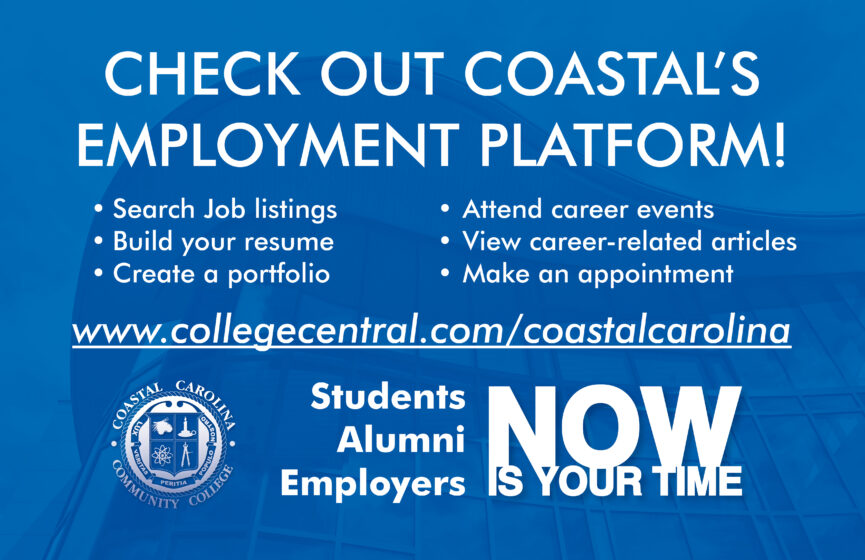 Employment Platform Flyer, the background has a faded image of the Coastal MS building.