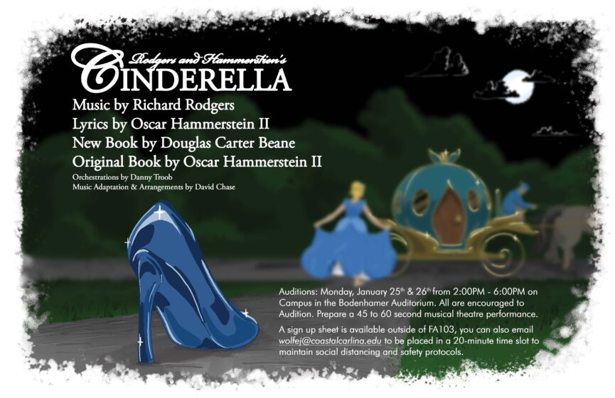 Poster for Cinderella: On a dark night we see an abandoned Slipper in the foreground. A Woman Rushes to a horse drawn Carriage in the background.