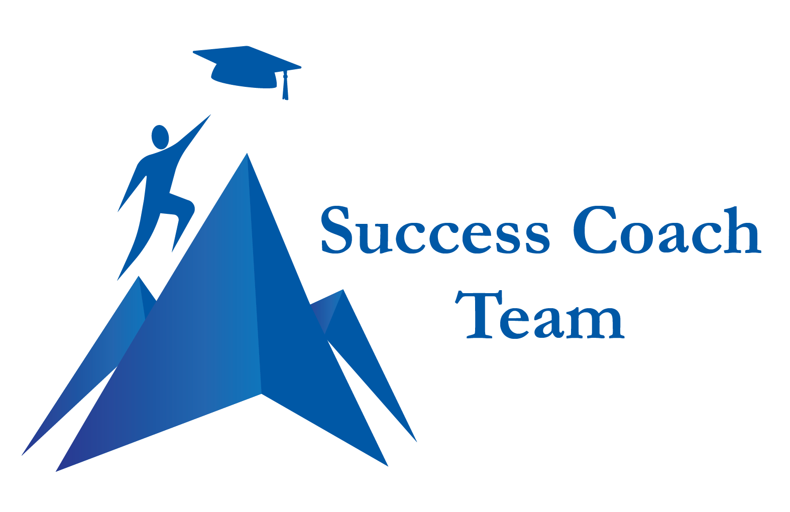 A Logo with A student climbing a mountain and reaching for a graduation cap.