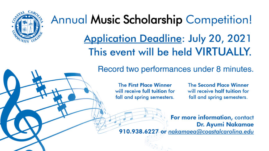 A band of written music flows from one side of the flyer to the other. Annual Music Scholarship Competition! Details below.