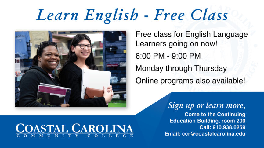 E-Flyer for Learn English Free! there is a photo with two people standing with books smiling. the text will follow below