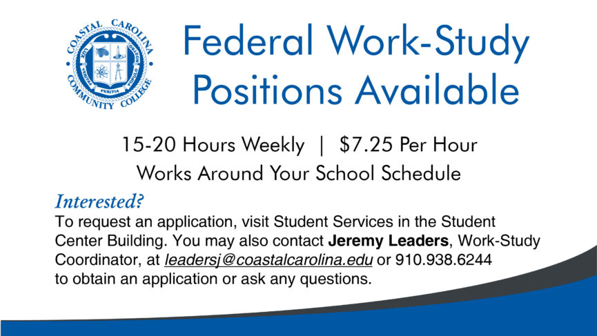 Flyer for Work Study Applications, Long stripes of blue and dark grey frame the bottom of the image, the text from within the flyer is below.