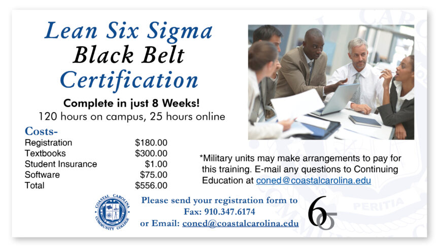 Lean Six Sigma - Black Belt Certification flyer, including a photo of an engaging business discussion over a table with papers strewn about. Text to follow.