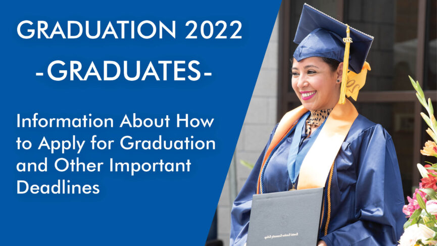 Graduation announcement flyer, with a happy graduate holding her diploma, Text below.