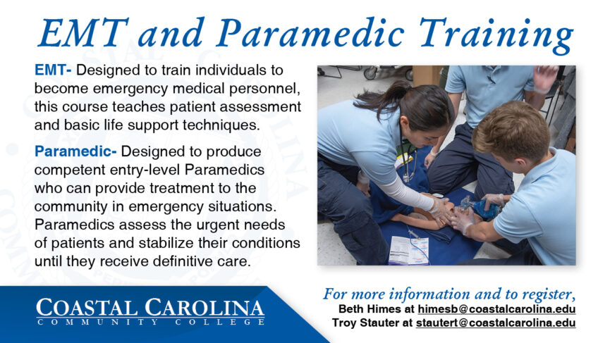 Flyer for EMT and paramedic Classes. Containing an image of students practicing resuscitating a child.