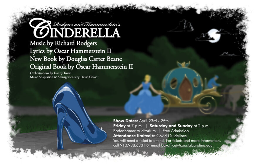 A poster with the details of the upcoming Cinderella production show dates-times. The imagery Is a slipper in the foreground and Cinerella in the background entering a buggy.